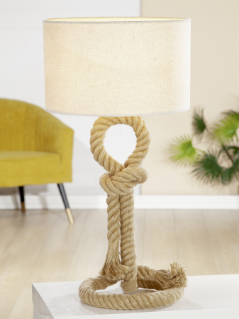 Lampa Rope Design, metal, crem, 62x33 cm0