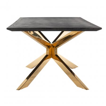 Masa Blackbone Matrix, Lemn/Otel inoxidabil, Negru/Auriu, 75x200x100 cm [1]