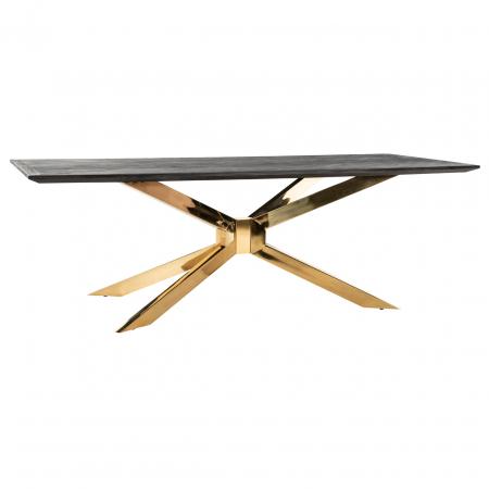 Masa Blackbone Matrix, Lemn/Otel inoxidabil, Negru/Auriu, 75x200x100 cm [3]