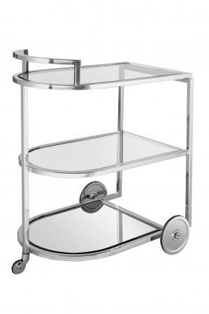 Masa de servire cu roti, Sticla/Otel inoxidabil, Transparent/Argintiu, 48x77 cm1