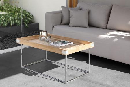 Masa DIEGO, lemn tec/inox, 100x60x62 cm, Fink1
