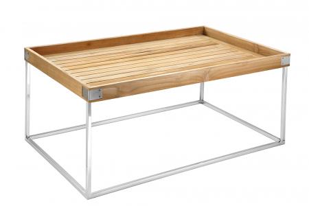Masa DIEGO, lemn tec/inox, 100x60x62 cm, Fink0