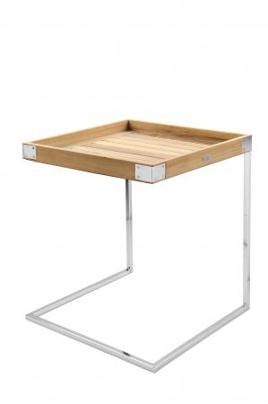 Masa DIEGO, lemn tec/inox, 45x45x62 cm, Fink0