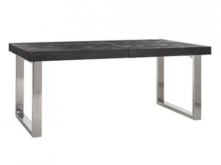 Masa extensibila Blackbone, Lemn/Otel inoxidabil, Argintiu/Negru, 76x265x100 cm [0]