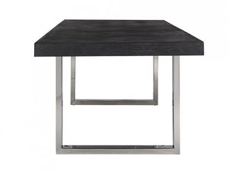 Masa extensibila Blackbone, Lemn/Otel inoxidabil, Argintiu/Negru, 76x265x100 cm [6]