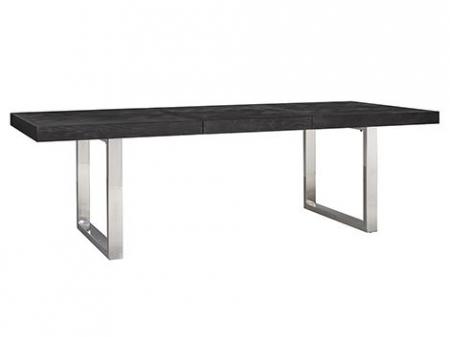 Masa extensibila Blackbone, Lemn/Otel inoxidabil, Argintiu/Negru, 76x265x100 cm [4]