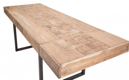 Masa extensibila Mumbai, lemn de acacia/fier, negru/maro, 160/240X80X77 cm4