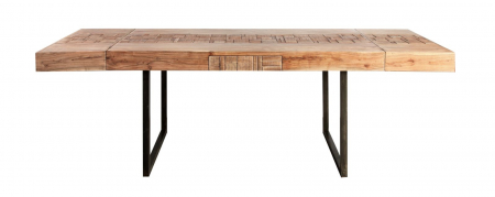 Masa extensibila Mumbai, lemn de acacia/fier, negru/maro, 160/240X80X77 cm2
