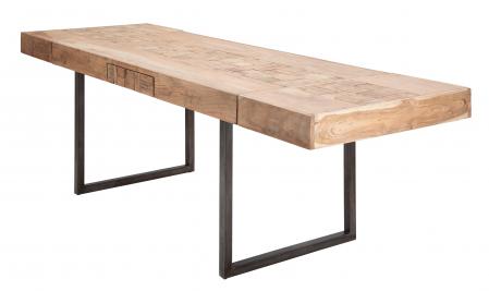 Masa extensibila Mumbai, lemn de acacia/fier, negru/maro, 160/240X80X77 cm3