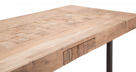 Masa extensibila Mumbai, lemn de acacia/fier, negru/maro, 160/240X80X77 cm7
