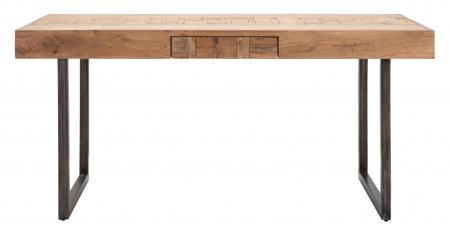 Masa extensibila Mumbai, lemn de acacia/fier, negru/maro, 160/240X80X77 cm6