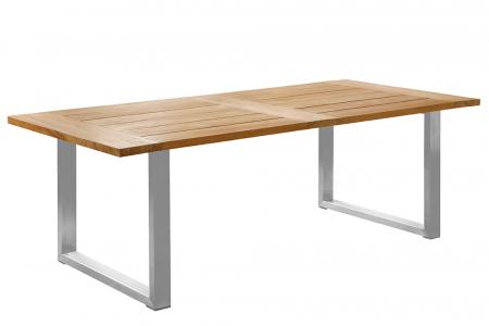 Masa PABLO, lemn tec/inox, 220x100x75 cm, Fink0