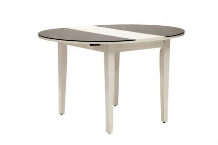 Masa rotunda extensibila, alb/negru, 100X75 cm, Mauro Ferretti0