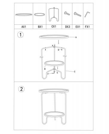 Masuta AREX 2 rafturi (cm)  Ø 48X54,58