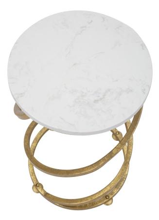 Masuta rotunda Spiral, Fier/Marmura, Auriu/Alb,  27.5X47.5 cm [2]