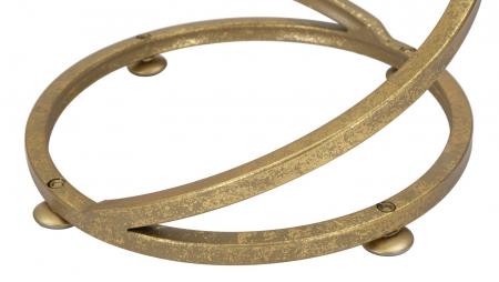 Masuta rotunda Spiral, Fier/Marmura, Auriu/Alb,  27.5X47.5 cm [5]