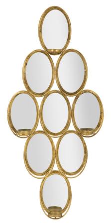 Oglinda de perete cu Suport lumanare GLAM, 54X10X118 cm, Mauro Ferretti0