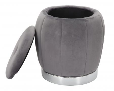 Puf cu spatiu depozitare PARIS gri/argintiu (cm) Ø 43X433