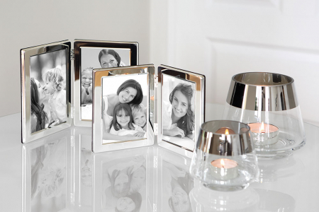 Rama foto dubla CLASSIC, placata cu argint, 17.5x25 cm0