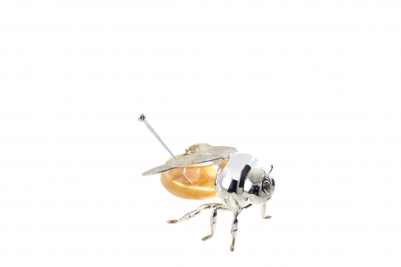 Recipient cu lingurita pentru miere MAYA, placat cu argint, 9x14 cm0