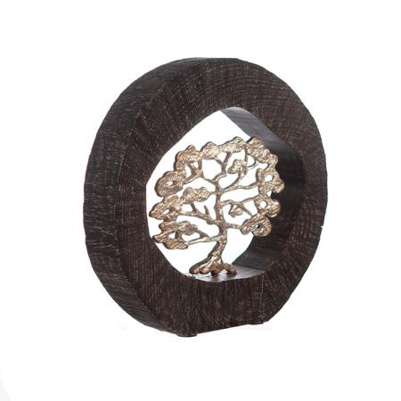 Figurina BEECH, aluminiu/lemn, 35x7x34 cm3