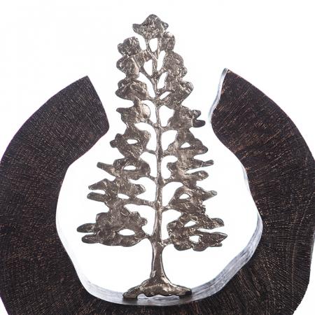Sculptura FIR TREE, aluminiu/lemn, 39x6x36 cm4
