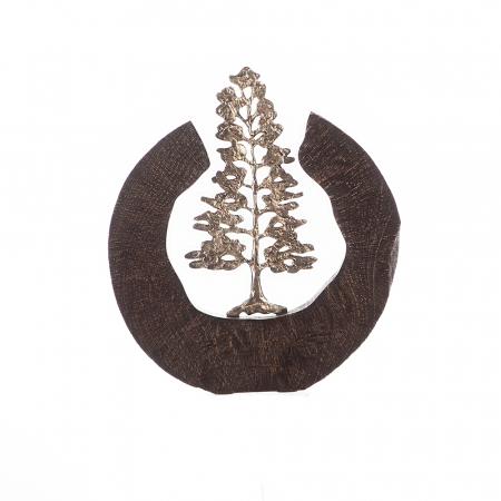 Sculptura FIR TREE, aluminiu/lemn, 39x6x36 cm0