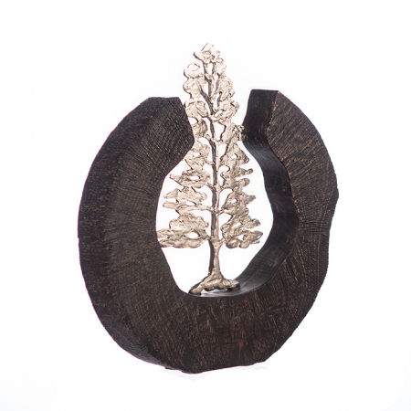 Sculptura FIR TREE, aluminiu/lemn, 39x6x36 cm1