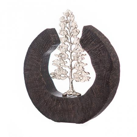 Sculptura FIR TREE, aluminiu/lemn, 39x6x36 cm2