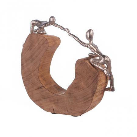 Figurina SUPPORT, lemn/aluminiu, 29x7x24 cm0