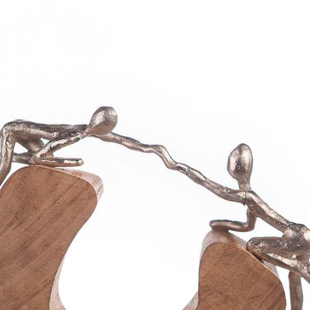 Figurina SUPPORT, lemn/aluminiu, 29x7x24 cm3