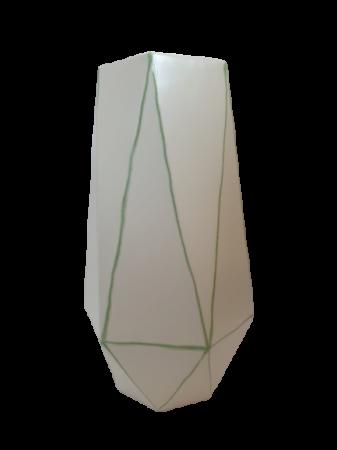 Set 1 lampa cu 1 vaza STRIPES, ceramica, alb/verde, 40/34 cm2