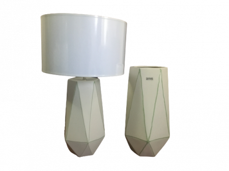 Set 1 lampa cu 1 vaza STRIPES, ceramica, alb/verde, 40/34 cm0