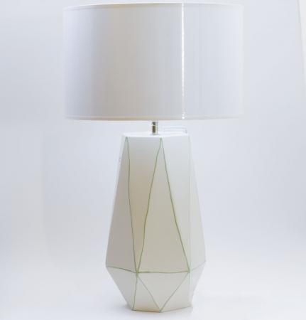 Set 1 lampa cu 1 vaza STRIPES, ceramica, alb/verde, 40/34 cm1