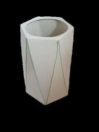Set 1 lampa cu 1 vaza STRIPES, ceramica, alb/verde, 40/34 cm4