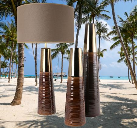 Set 1 Lampa cu 2 Vaze CHEDI, ceramica, maro/auriu, 42/57/42 cm0