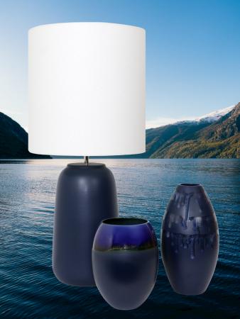 Set 1 Lampa cu 2 vaze HORY, ceramica, albastru, 35/23.5/30 cm [0]