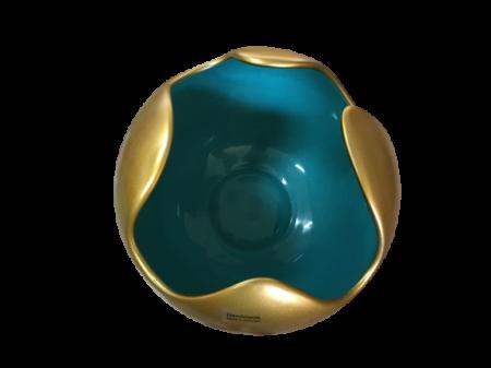 Set 1 Lampa cu 2 Vaze WAVES, ceramica, auriu/albastru, 23/27/22.5 cm2