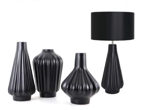 Set 1 Lampa cu 3 Vaze KNOPPER, ceramica, negru, 34/34/30/28 cm [3]