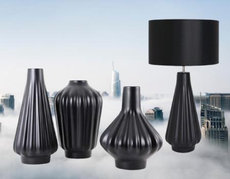 Set 1 Lampa cu 3 Vaze KNOPPER, ceramica, negru, 34/34/30/28 cm [0]
