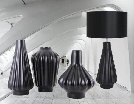 Set 1 Lampa cu 3 Vaze KNOPPER, ceramica, negru, 34/34/30/28 cm [1]