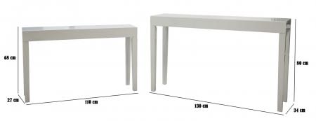 Set 2 console, alb, 130X34X80-110X27X68 cm, Mauro Ferretti3