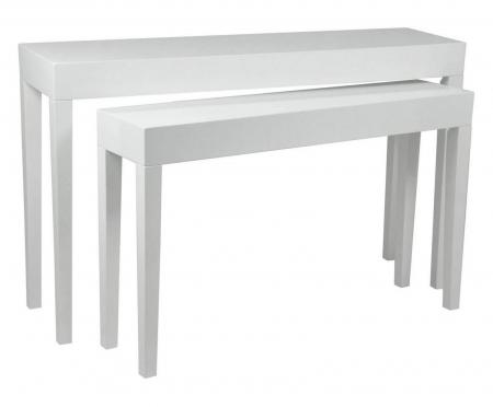 Set 2 console, alb, 130X34X80-110X27X68 cm, Mauro Ferretti1