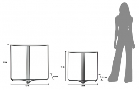 Set 2 console DUBLINO (cm) 81X40,5X82 - 71X35,5X727