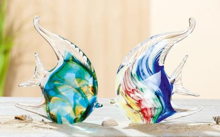 Set 2 deco CORAL FISH, sticla, 13.5x4X13.5 cm0