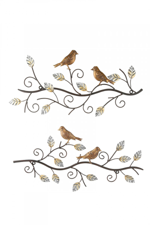Set 2 decoratiuni de perete BIRDS, metal, 49X24 cm (X2)1