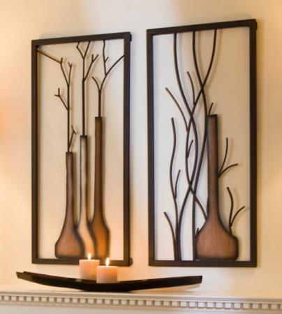 Set 2 decoratiuni de perete VASE ON VASE, metal, 40 x 2 x 80 cm [0]