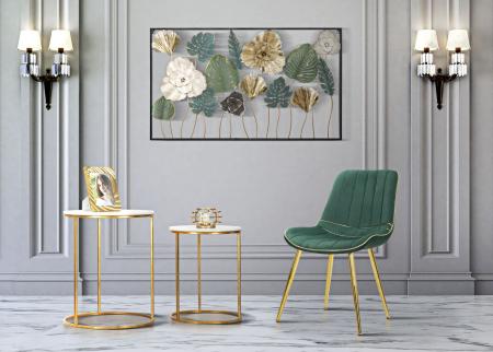Set 2 fotolii PARIS verde/auriu (cm) 51X59X797