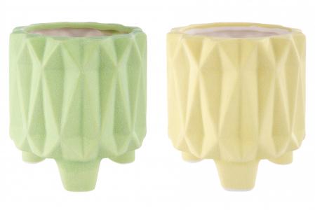 Set 2 mini ghivece Rombo, portelan, verde/galben, 8.8x8.2 cm1