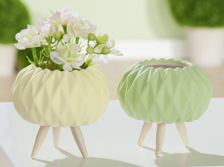Set 2 mini ghivece Rombo, portelan, verde/galben, 9.5x10 cm0